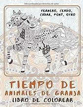 Tiempo de animales de granja - Libro de colorear - Ternero, Cerdo, Cabra, Pony, otro