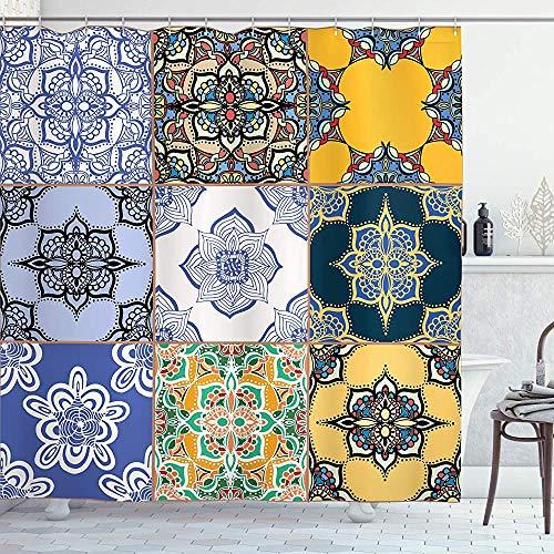 ASDAH Marokkaanse douchegordijn Portugese tegel patronen verschillende tinten texturen Boheemse Print doek stof badkamer Decor Set met haken Ivoor geel 66 * 72in