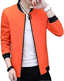 RkBaoye Men's Basic Style Baseball Zip-Up Solid Color Coat Rain Jacket
