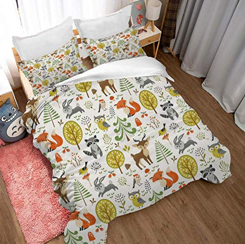 GSYHZL kingsize duvet cover sets,3D cartoon super king-size bed bedding set, printed duvet cover and pillowcase for children bedroom-B_259*229cm(3pcs)