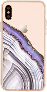 Casery Case Designed for The Apple iPhone X, XS, Light Purple Agate (Exotic Marble) - Military Grade Protection - Drop Tested - Protective Slim Clear Case