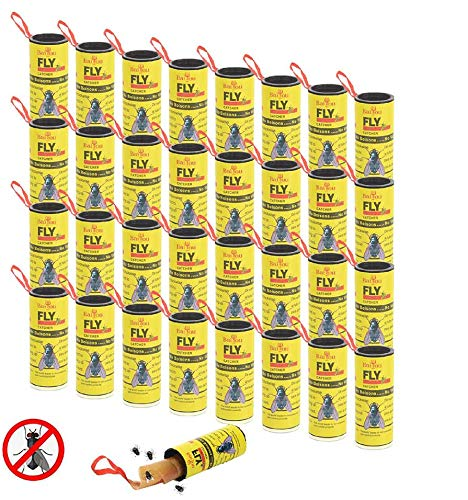 Sticky Fly Ribbons Fly Paper Ribbon Fly Catcher Ribbon Fly Paper Strips Indoor & Outdoor Fly Trap Fling Insects Fly Trap Roll Fly Bait (32 Pack)