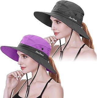 2 قطعة للنساء قبعة شمس واقية من الأشعة فوق البنفسجية بتسريحة ذيل الحصان قبعة واسعة الحافة لصيد الأسماك والمشي لمسافات طويلة