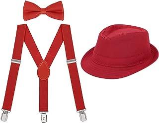 HDE Kids Adjustable Suspenders Boys Pre-Tied Bow Tie and Short Brim Fedora Hat