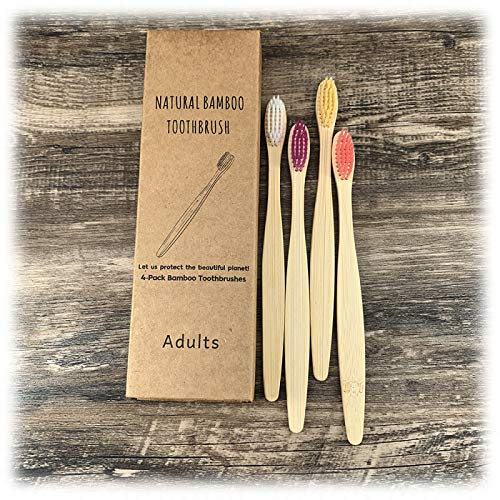 Bambus Zahnbürsten Holzzahnbürste für Erwachsene - 4 Pack, Natürlich Umweltfreundlicher Packung Zufällige Farbe