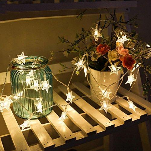 Guirnalda de luz estrella, cadena luminosa con 40 luces estrellas decorativas para...