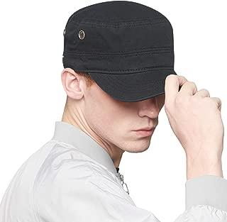 Men's Caps Army Hat Cotton Classic Military Hats Adjustable Comfy Cadet Hat Vintage Flat Top Cap Baseball Cap
