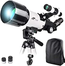 70x400mm Telescope for Kids and Beginners-70mm Apeture Travel Scope 400mm AZ Mount - Good Partner to View Moon and Planet - with Backpack and Smartphone Mount