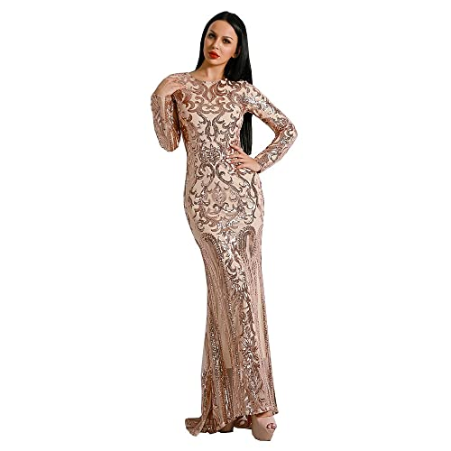 d9d94c72aba Missord women s O Neck Long Sleeve Retro Sequin Maxi Gorgeous Evening Dress  FT8578