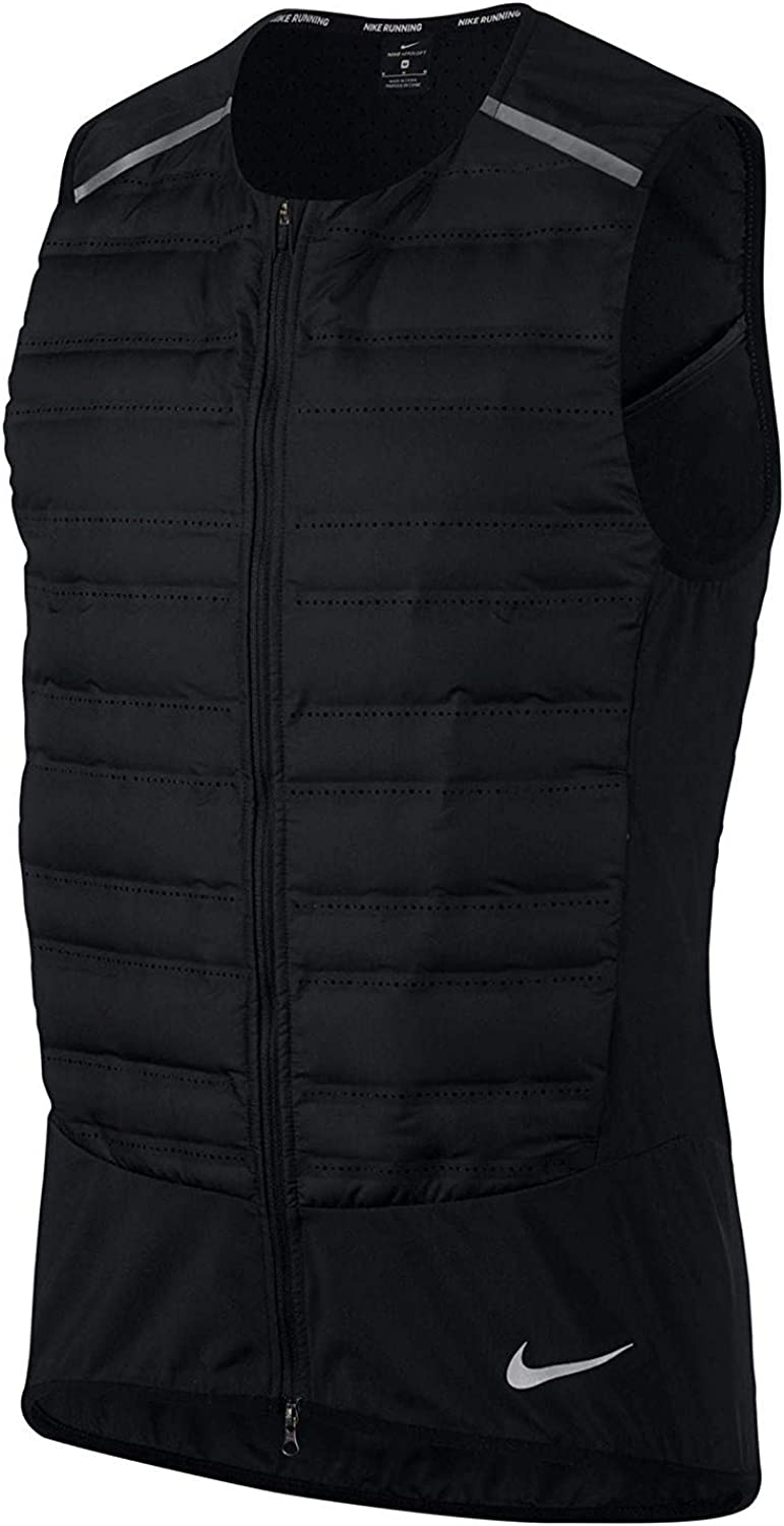 Nike Aeroloft Men's Running Vest (Black Metallic Silver, Medium)