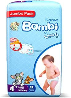 Sanita Bambi Size 4+, Large+, 10-18 KG, Jumbo pack, 58 count