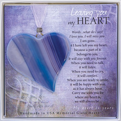 Leaving You My Heart Poem Boxed Bereavement Memorial Glass Heart Ornament, Blue