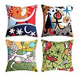Topfinel Kissenbezüge mit Stickerei in Baumwolle Picasso Design Dekokissen Kissenhülle 4er Set...