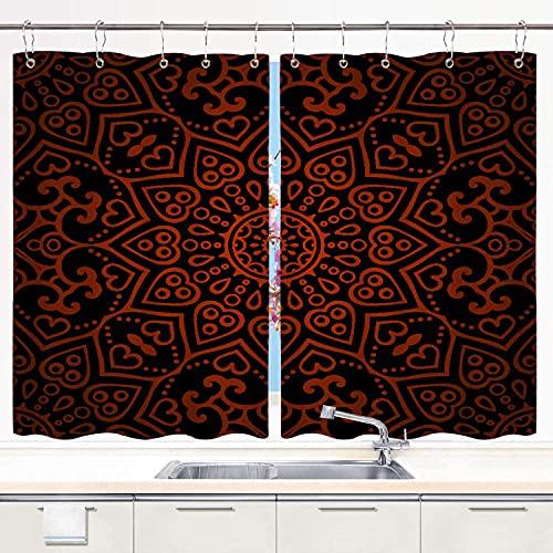 YUDILINSA Cortinas para Ventana de Cocina,Marroquí Mosaico Parche Patrón Mexicano Vintage Oriental Abstracto Abstracción Asiático Azteca Flor mágica,Cortinas Cortas con Ganchos,2 Piezas,140x100cm