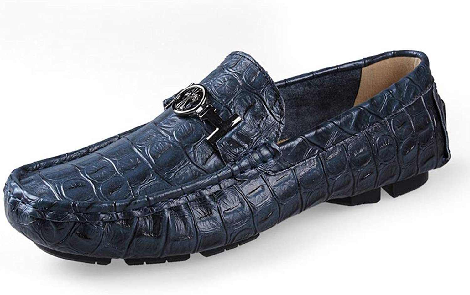Lightweight Sets of shoes Casual Driving shoes Single shoes Leather Crocodile Pattern Men's Peas shoes (color   bluee, Size   42)