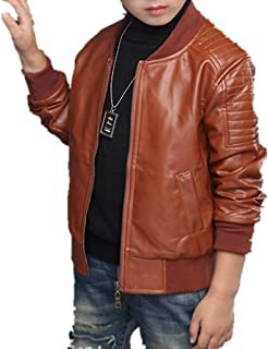 Boys Lightweight Leather Bomber Jackets Collection 4-14 Years