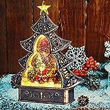 Christmas Tree Snow Globe Lantern, LED Lighting 6H Timer Gumball Water Globe Lantern, Santa and Christmas Tree Holiday Lantern USB/Battery Operated Music Waterglobe Ornament