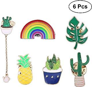 Supvox Label Pin Brosche Stick Pin Broschen Cartoon Pflanzenlegierung Brotheroch Breastpin Party Decor Schmuck Zubehör Geschenk für Frauen Mädchen 6 Stck