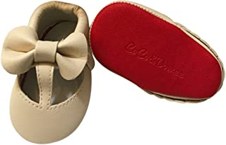 45e9d82c35f2 Baby Girls Cream Red Cutout Bow Soft Sole Faux Leather Crib Shoes 3-18M