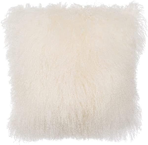 February Snow Deluxe Home Decorative Rectangular Soft Plush 100 Real Mongolian Tibetan Lamb Wool Pillow Cushion Cover Case White 24x24inch