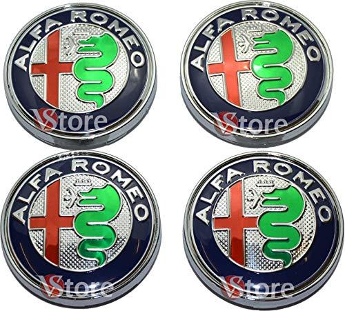 4 Tappi Coprimozzo ALFA ROMEO Giulietta 159 146 156 Brera Mito Fregi CERCHI 60mm (Verde Green)