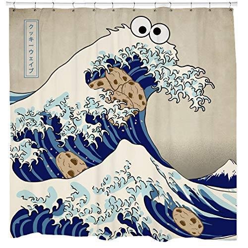 Promini Cookie Duschvorhang, Monster Duschvorhang, japanischer Duschvorhang, Ozean Duschvorhang, blaues fähdekor, lustiges, 11 Haken, 66