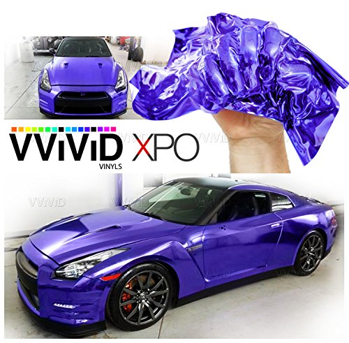 VViViD SuperCast Purple Conform Chrome Metallic Finish Stretch Vinyl Wrap Film Decal Sheet Roll (1/2ft x 5ft)