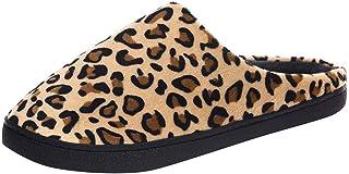 NINGSANJIN-Chaussures Pantoufle Homme Hiver Mousse Mémoire Chaussons Doublure Leopard Antidérapant D'intérieur D'extérieur...