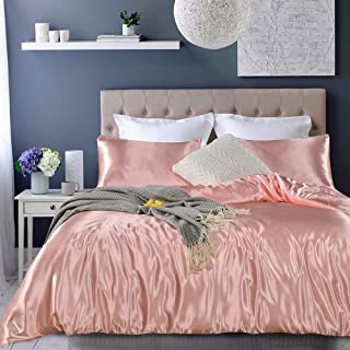 Pink Bedding Silk Like Satin Duvet Cover Set Light Pink Silky Microfiber Quilt Cover Solid Girls Bedding Sets Queen 1 Duvet Cover 2 Pillowcases (Pink, Queen)