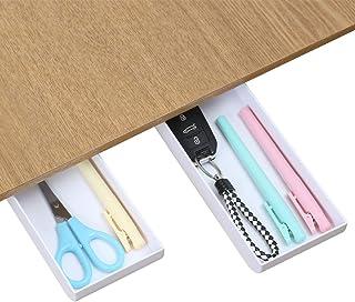 2 Pieces Small Self-Adhesive Drawer Shelf Desk Organizer Under Desktop Hidden Tray Convenience Pop-up Storage Pen Pencil, ...