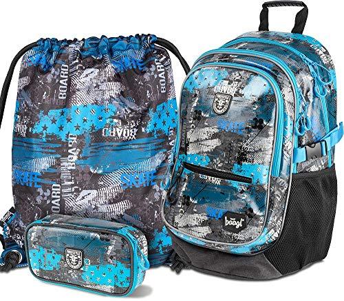 Schulrucksack Set Jungen 3 Teilig, Schultasche ab 3. Klasse, Grundschule Ranzen mit Brustgurt, Ergonomischer Schulranzen (Freestyle)