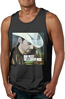 Men's Comfort Leisure Sleeveless Tank Tops T-Shirts with Brad Paisley This is Country Music Logo Black