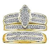 Anillo de compromiso de oro amarillo de 10 quilates de 0,25 quilates y diamante blanco redondo para hombres y mujeres 1/4 CT.