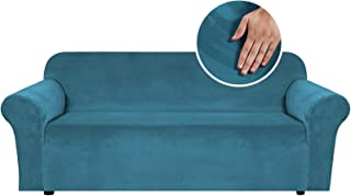 Thick Velvet Stretch Sofa Cover 3 Seater Couch Cover for Living Room Sofa Slipcover Furniture Cover with Non Slip 2 Strap...