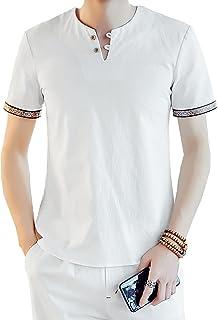[Agree With(アグリーウィズ)] カットソー 麻 Tシャツ Vネック 無地 自然素材 半袖 カジュアル オシャレ メンズ