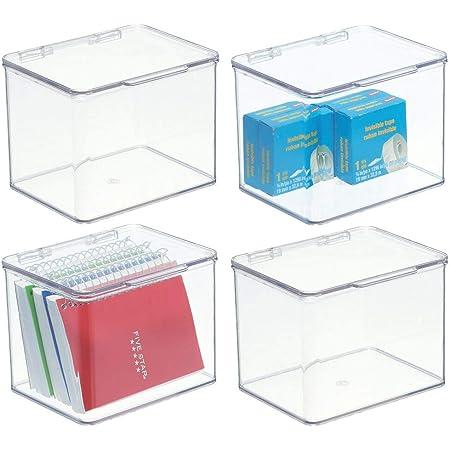 mDesign boite de rangement bureau - bac de rangement à couvercle en plastique empilable – 14,0 cm x 16,8 cm x 12,7 cm – petit bac plastique pour stylos et fournitures bureau - lot de 4 – transparent