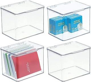 mDesign boite de rangement bureau - bac de rangement à couvercle en plastique empilable – 14,0 cm x 16,8 cm x 12,7 cm – pe...