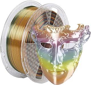 Amazon Brand - Eono Silk Metal Rainbow Multicolor 1.75mm PLA Filament,Silky PLA,+/- 0.05mm,3D Printing Filament PLA for 3D Printer and 3D Pen, 1kg 2.2 LBS 1Spool