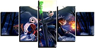 yzbz 5 Panel Modular Wall Art Pictures Canvas Hd Prints Halloween Home Decor Nightmare Before Christmas Paintings Poster-size1-Framed