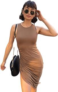 Moda Verano Nuevas Mujeres Sexy Plisado Diagonal Tenedor sin Mangas Bolsillo Cintura Falda Plisado Medio