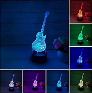 Guitar 3D LED Illusion lamp,Colorful Night Light Lamp Gift for Kids Children Men Women Holiday Birthday,Touch USB or Battery Powered