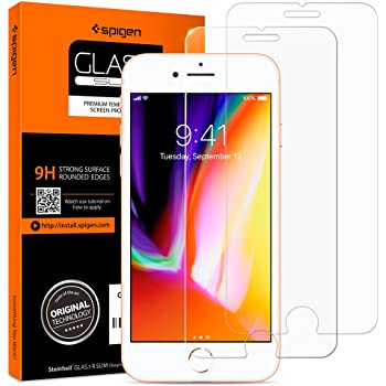 Spigen Tempered Glass iPhone 7 Screen Protector [ Case Friendly ] [ 9H Hardness ] for iPhone 7 (2 Pack)