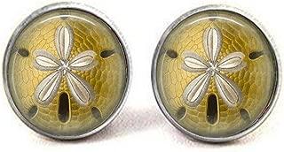 Glass Tile Earrings Sand Dollar Earrings Glass Tile Jewelry Sea Life Earrings Sand Dollar Jewelry Brass Jewelry Black Jewelry Silver Jewelry