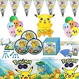 Geenber Pokemon Pikachu Party Supplies Set 81 Pack Kit de vajilla de Fiesta de cumpleaños con Globos Decoraciones de pancartas Suministros de Fiesta de celebración Completa para 10 niños Niños