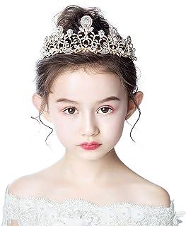 RKY Parte Superiore delle Ragazze, Bambini Fascia Copricapo Corona Principessa Girl Corona Crystal Golden Bambini Big Crow...