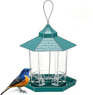 Mangeoire à Oiseaux,Mangeoire pour Oiseaux Sauvages Mangeoire à Oiseaux Suspendue Grande Capacité Hexagonale Jardin Mangeo...