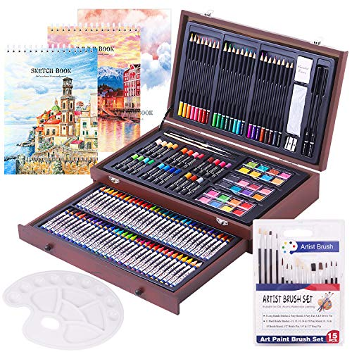 162 Piece Deluxe Art Set- 2 x 50 Page Sketch Book,1 x 24 Page Watercolor Pad,Art Supplies in Portable Wooden Case with Crayons,Oil Pastels,Colored Pencils,Watercolor Cakes-Professional Art Kit
