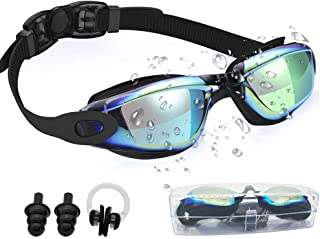 T&T Swim Goggles for Women, Men, Kids No Leaking Anti Fog UV Protection, Triathlon Swimming Goggles with Protection Case, Nose Clips + Ear Plugs as Gift, Ocean Goggles, Swim Glasses