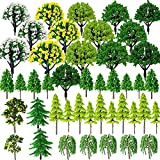 Cayway 44 Stück Modellbau Bäume Mixed Bäume Modellbau, 3 ~ 8CM Mixed Bunt Modell Baum Zug Bäume Kunststoff Modell Bäume für DIY Landschaft Gartendeko, Modelllandschaft