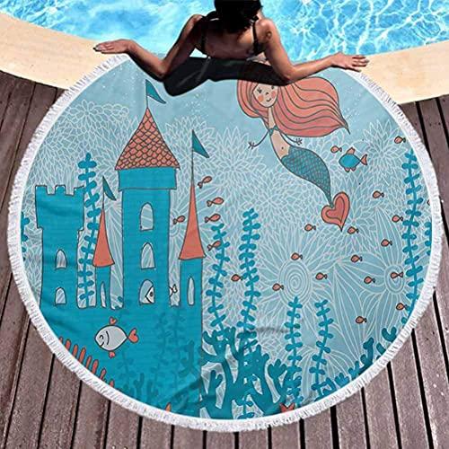 Toalla de Playa Sirena Toalla de Playa para Mujer Arte de la Sirenita bajo el mar en corales con Castillo y Estampado de pececillos Manta multifunción Verde Azulado Naranja (diámetro 59 ')